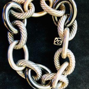 DAVID YURMAN Silver & Black X Large Link Bracelet
